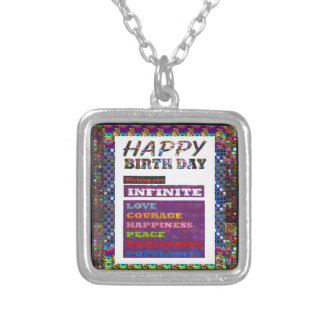 Happy Birthday HappyBirthday Greetings Gifts Silver Plated Necklace