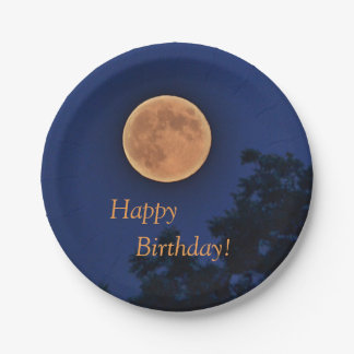 Happy Birthday Harvest Moon Paper Plate