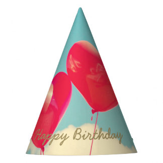 Happy Birthday Heart Balloons Party Hat