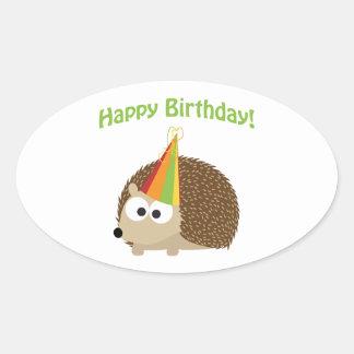 Happy Birthday! Hedgehog Oval Sticker