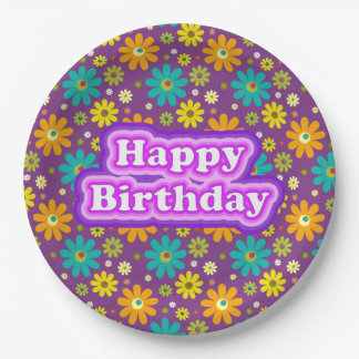Happy Birthday Hippie Flowers Paper Plate