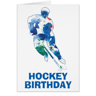 Happy Birthday Hockey Player Watercolor Card