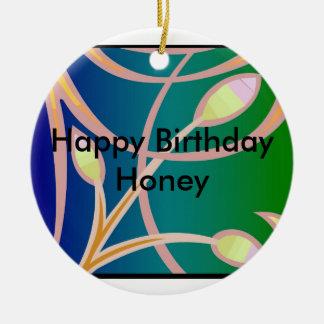 Happy Birthday Honey Round Ceramic Decoration