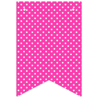 Happy Birthday Hot Pink with White Polka Dots Bunting