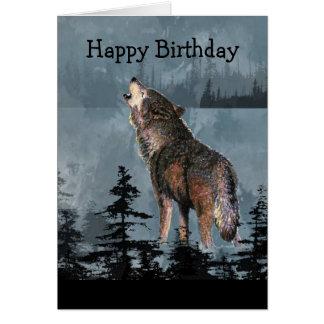 Happy Birthday Howling Wolf Animal Art Greeting Card