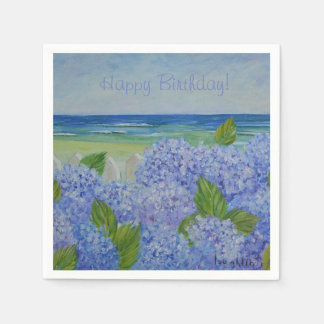 Happy Birthday Hydrangeas By The Sea Disposable Serviettes