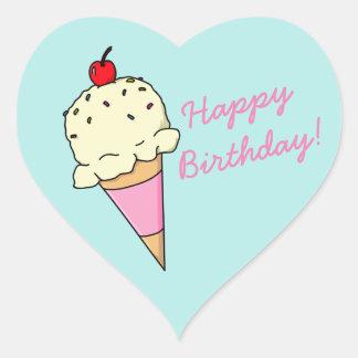 Happy Birthday Ice Cream Heart Sticker