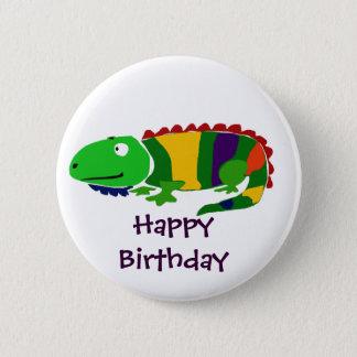 Happy Birthday Iguana Art Button