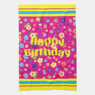 Happy Birthday in Flowers Tea Towel