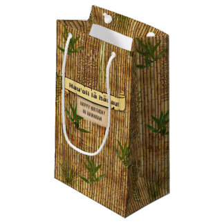 Happy Birthday in Hawaiian Bamboo Tapa Cloth Small Gift Bag