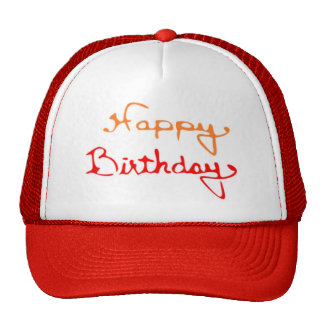 Happy Birthday in Red And Orange Cap