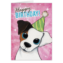 Jack russell birthday cards invitations zazzle happy birthday jack russell party dog card bookmarktalkfo Image collections