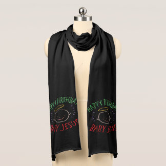 Happy Birthday Jesus Colorful Religious Christmas Scarf