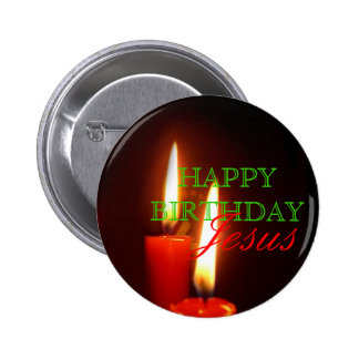 Happy Birthday, Jesus Large Red Candles Button