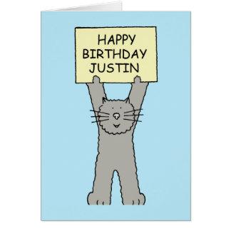 Happy Birthday Justin Greeting Card
