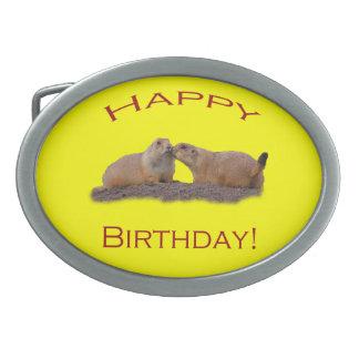 Happy Birthday Kiss Oval Belt Buckle
