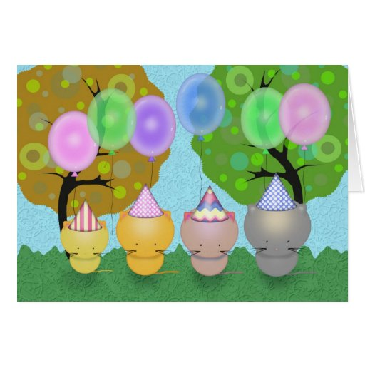 Happy Birthday Kittens and Balloons Card