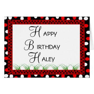 Happy Birthday Ladybug Red and White Polka Dots Card