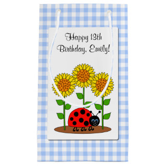 Happy Birthday Ladybug with Sunflower Personalised Small Gift Bag