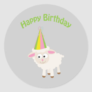 Happy birthday Lamb Classic Round Sticker