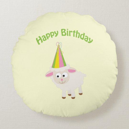 Happy Birthday Lamb Round Cushion