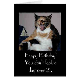 Happy Birthday Laughing Cat Note Card