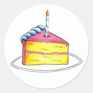Happy Birthday Layer Cake Slice w/ Candle Stickers