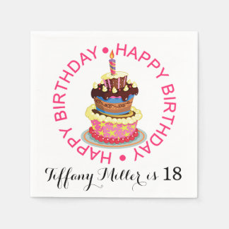 Happy Birthday Layered Cake with Candle Disposable Serviette
