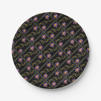 Happy Birthday Lilac Aster 7 Inch Paper Plate