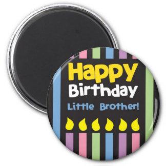 Happy Birthday little Brother stripey 6 Cm Round Magnet