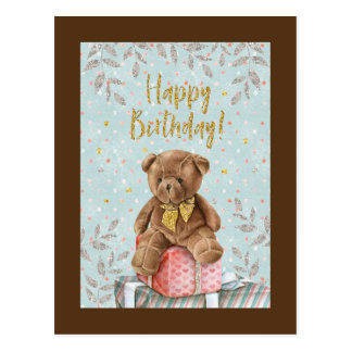 Happy Birthday Little Brown Bear Postcard