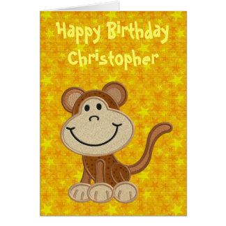 Happy Birthday Little Monkey Greeting Card