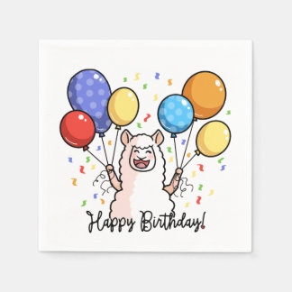Happy Birthday Llama Paper Serviettes