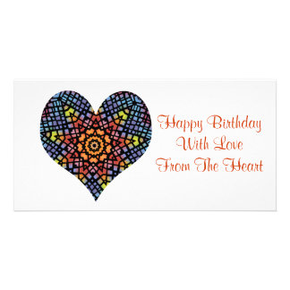 Happy birthday, love from the heart, stained glass customized photo card