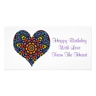 Happy birthday, love from the heart, stained glass custom photo card