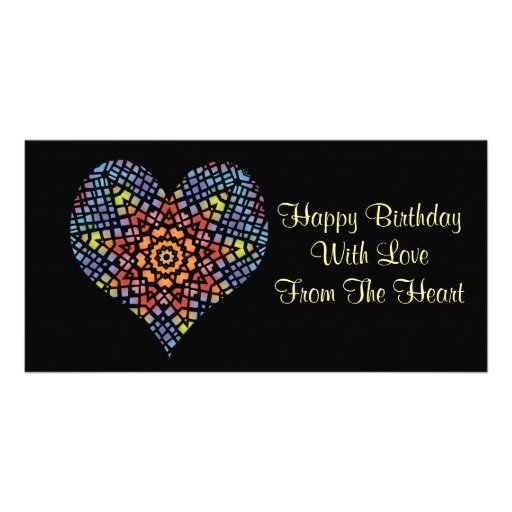 Happy birthday, love from the heart, stained glass picture card