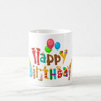 happy birthday love rainbow balloons coffee mug