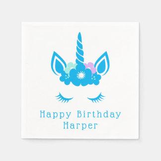 Happy Birthday   Magical Unicorn Paper Napkin