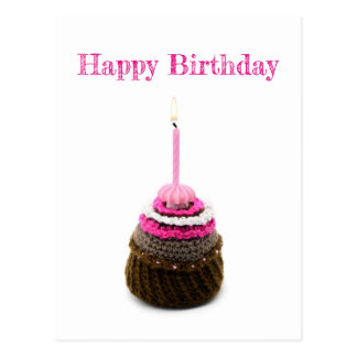 Happy Birthday map with Muffin and candle Postcard