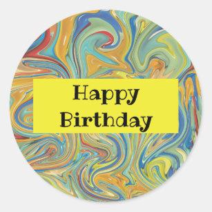 Happy Birthday Marble Stickers