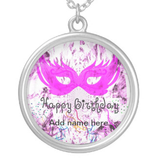 Happy Birthday Mask Silver Plated Necklace