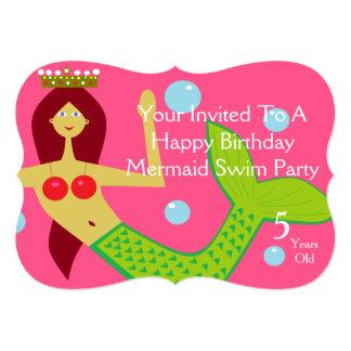 "Happy Birthday Mermaid Swim Party 5"" X 7"" Invitation Card"