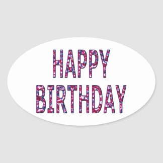 Happy Birthday Message Oval Sticker