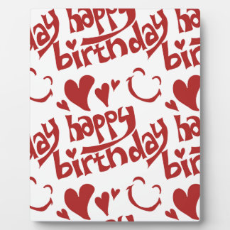 happy birthday message with heart smiling face display plaque