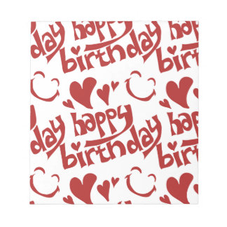happy birthday message with heart smiling face notepad