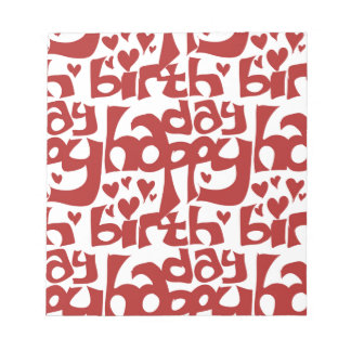 happy birthday message with hearth notepad