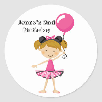 Happy Birthday Minnie Party Girl with Balloon Classic Round Sticker