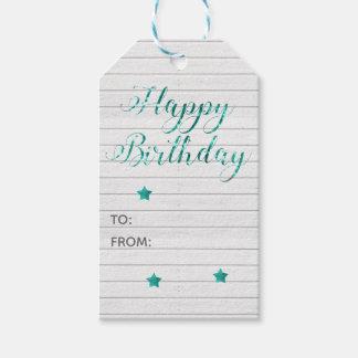 Happy Birthday Modern Calligraphy Teal Bokeh Gift Tags