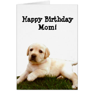 Happy Birthday mom Labrador puppy greeting card