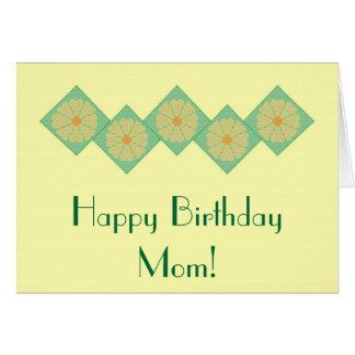 Happy Birthday Mom! Yellow & Green Flower Notecard